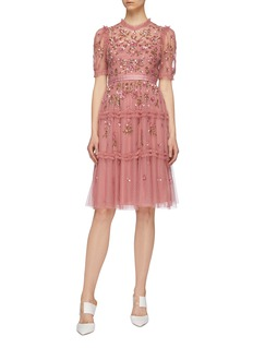 Needle & Thread 'Carnation Sequin' ruffle trim tiered tulle dress