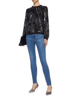 Needle & Thread 'Floral Gloss' sequin long sleeve georgette top