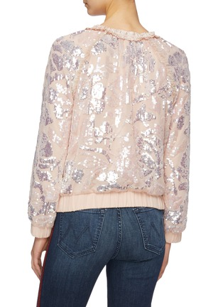 Back View - Click To Enlarge - Needle & Thread - 'Floral Gloss' sequin georgette pussybow bomber jacket