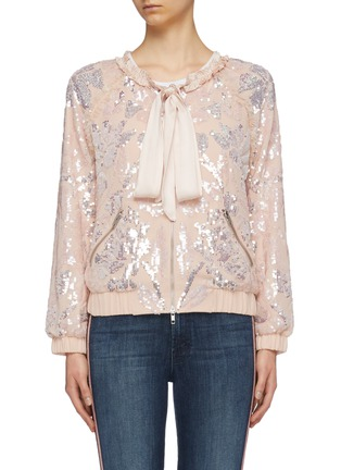 Main View - Click To Enlarge - Needle & Thread - 'Floral Gloss' sequin georgette pussybow bomber jacket