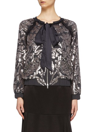 Main View - Click To Enlarge - NEEDLE & THREAD - 'Floral Gloss' sequin pussybow georgette bomber jacket