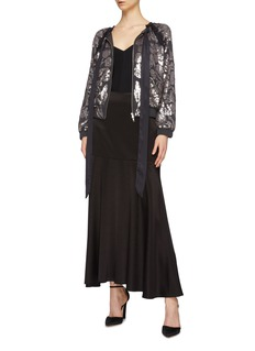 Needle & Thread 'Floral Gloss' sequin pussybow georgette bomber jacket