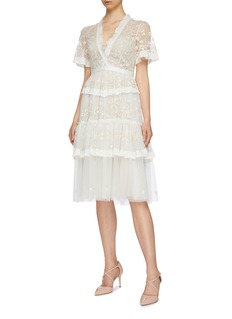 Needle & Thread 'Fortuny' floral embroidered tiered tulle dress