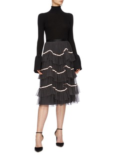 Needle & Thread 'Venetian Scallop' floral trim tiered tulle skirt
