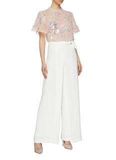 Needle & Thread 'Floral Gloss' ruffle trim sequin georgette top