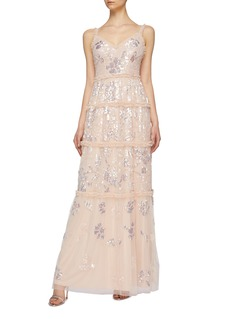 Needle & Thread 'Floral Gloss' ruffle trim sequin tulle sleeveless gown