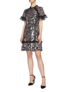 Needle & Thread 'Floral Gloss' ruffle trim sequin tulle georgette dress