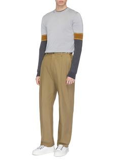 Mackintosh Colourblock sleeve Merino wool sweater