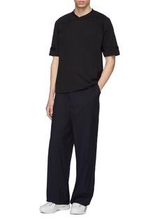 Mackintosh Roll cuff mock wrap collar T-shirt