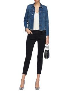 L'AGENCE 'Janelle' strass raw edge cropped denim jacket