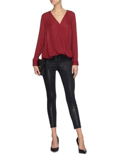 L'Agence 'Cherie' lace-up coated skinny jeans
