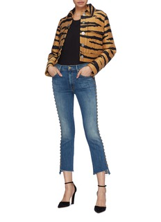 MOTHER 'The Insider Crop Step Fray' stud outseam jeans