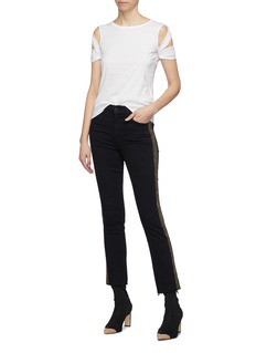MOTHER 'The Rascal Ankle Fray' bead stripe outseam jeans