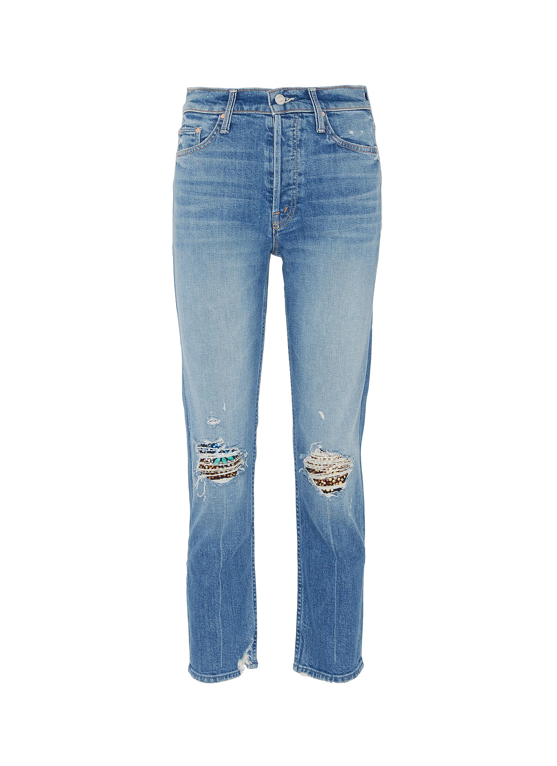 8f7f98365c MOTHER | 'The Tomcat' embellished patch ripped straight leg jeans ...