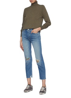 MOTHER 'The Tomcat' embellished patch ripped straight leg jeans
