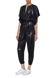 Norma Kamali 'Rectangle' belted slit front coated jumpsuit