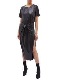 Norma Kamali Tie waist lamé diaper dress