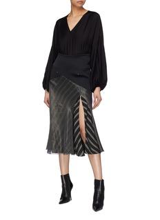 Esteban Cortazar Side split satin panel mesh overlay stripe skirt