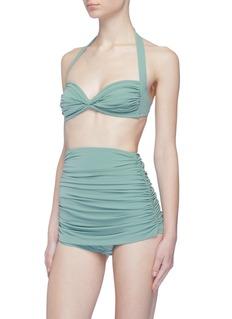 Norma Kamali 'Bill' ruched halterneck bikini top