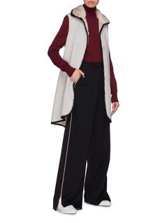 Inniu Belted mink collar virgin wool-cashmere long gilet