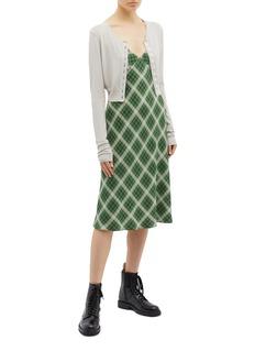 Marc Jacobs Check plaid silk flannel midi dress