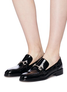 Pedder Red 'Sam' strass horsebit patent leather loafers