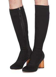 Pedder Red 'Bonnie' wooden heel sock knit knee high boots