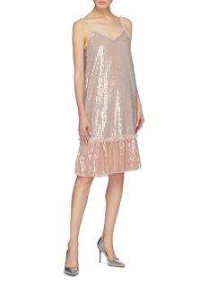 Needle & Thread 'Gloss Sequin' stripe ruffle trim peplum camisole dress