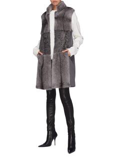 Inniu Loro Piana® wool-cashmere back mink lamb fur long gilet