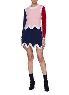 PH5 Contrast scalloped hem Merino wool knit skirt