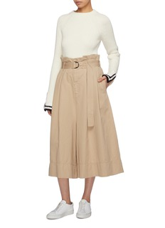 bassike Belted pleated twill paperbag culottes