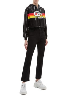 Opening Ceremony Logo embroidered stripe cropped velour half-zip hoodie