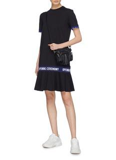 Opening Ceremony Logo jacquard scalloped cuff peplum T-shirt dress