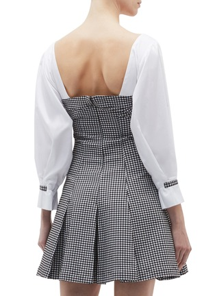 Back View - Click To Enlarge - OPENING CEREMONY - Contrast sleeve pleated gingham check bustier dress