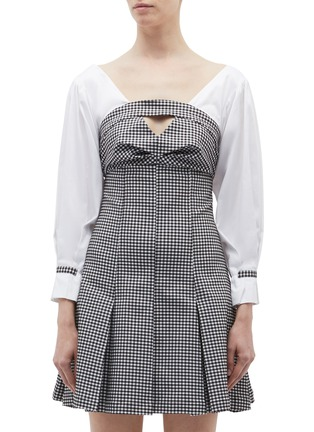Main View - Click To Enlarge - Opening Ceremony - Contrast sleeve pleated gingham check bustier dress
