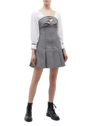 Figure View - Click To Enlarge - Opening Ceremony - Contrast sleeve pleated gingham check bustier dress