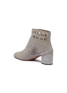 Alaïa Geometric lasercut zip front suede ankle boots