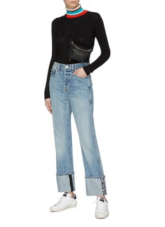 Proenza Schouler PSWL 'Stove Pipe' graphic jacquard fold up cuff jeans