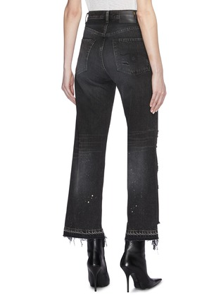 Back View - Click To Enlarge - R13 - 'Camille' staggered cuff distressed flared jeans