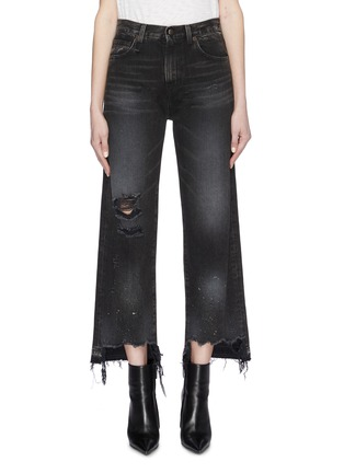 Main View - Click To Enlarge - R13 - 'Camille' staggered cuff distressed flared jeans