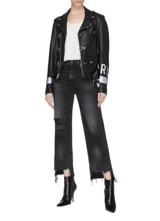 R13 'Camille' staggered cuff distressed flared jeans