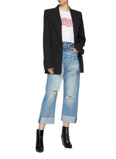 R13 'Crossover' asymmetric ripped jeans