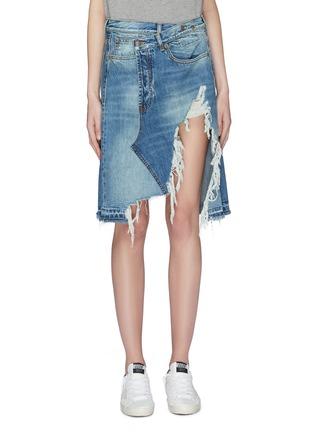 Main View - Click To Enlarge - R13 - 'Norbury' asymmetric distressed denim skirt