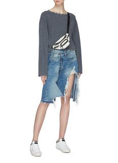 R13 'Norbury' asymmetric distressed denim skirt