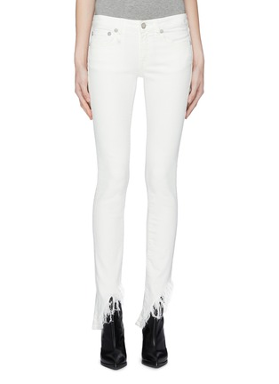 Main View - Click To Enlarge - R13 - 'Kate Skinny' shredded angled cuff jeans