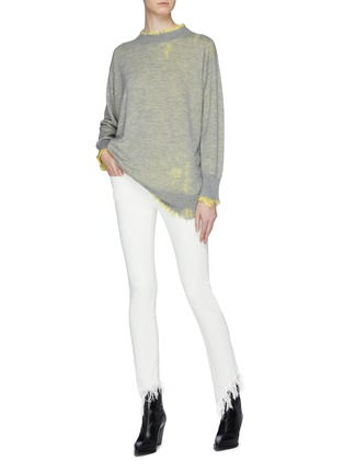 Figure View - Click To Enlarge - R13 - 'Kate Skinny' shredded angled cuff jeans