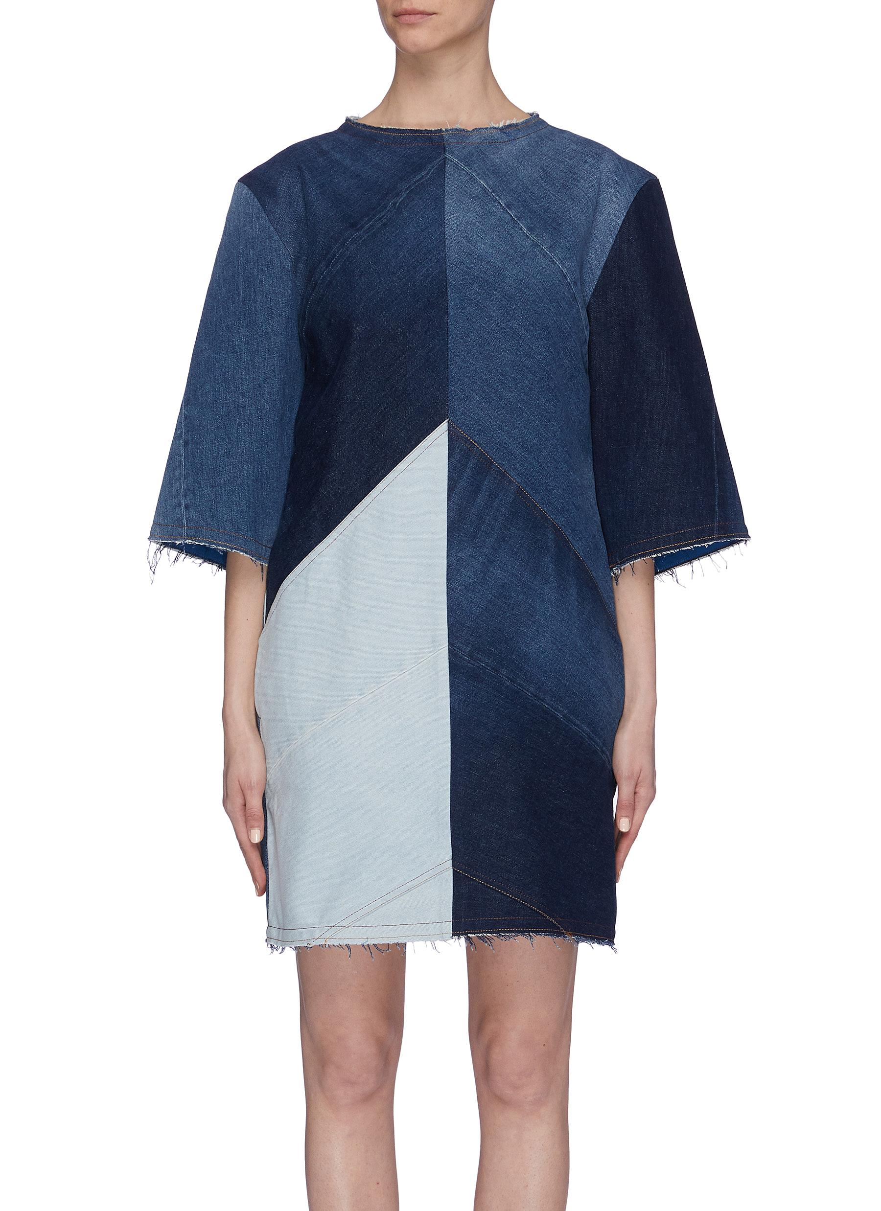 Buy Acne Studios Dresses Patchwork denim T-shirt dress