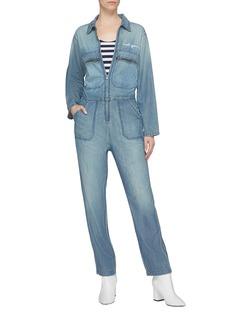 Sandrine Rose 'The Painter' slogan graphic appliqué denim jumpsuit