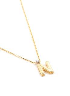 Roberto Coin 'Tiny Treasures' diamond 18k yellow gold letter pendant necklace – N