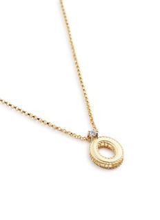 Roberto Coin 'Tiny Treasures' diamond 18k yellow gold letter pendant necklace – O
